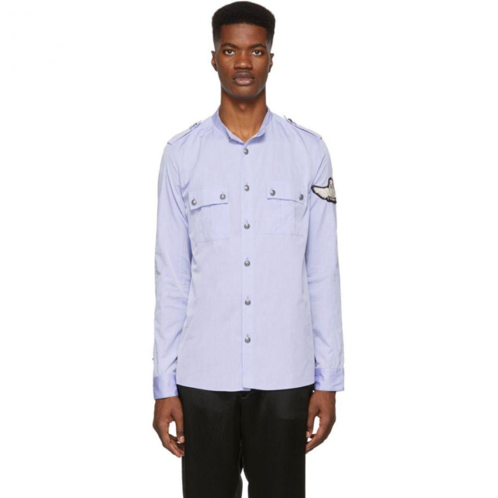 バルマン Balmain メンズ トップス シャツ【Blue Military Sleeve Badge Shirt】