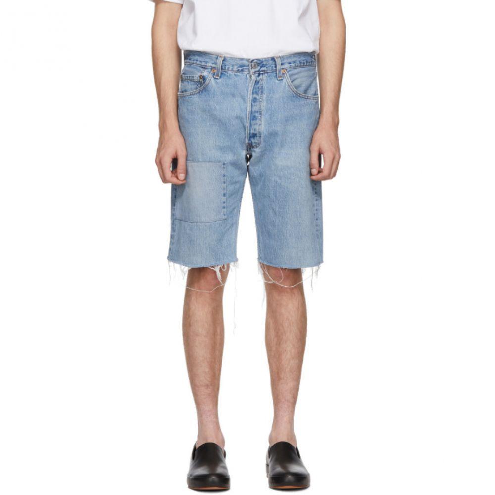 ビーサイズ B Sides メンズ ボトムス・パンツ ショートパンツ【Indigo Reworked Patchwork Seamed Shorts】