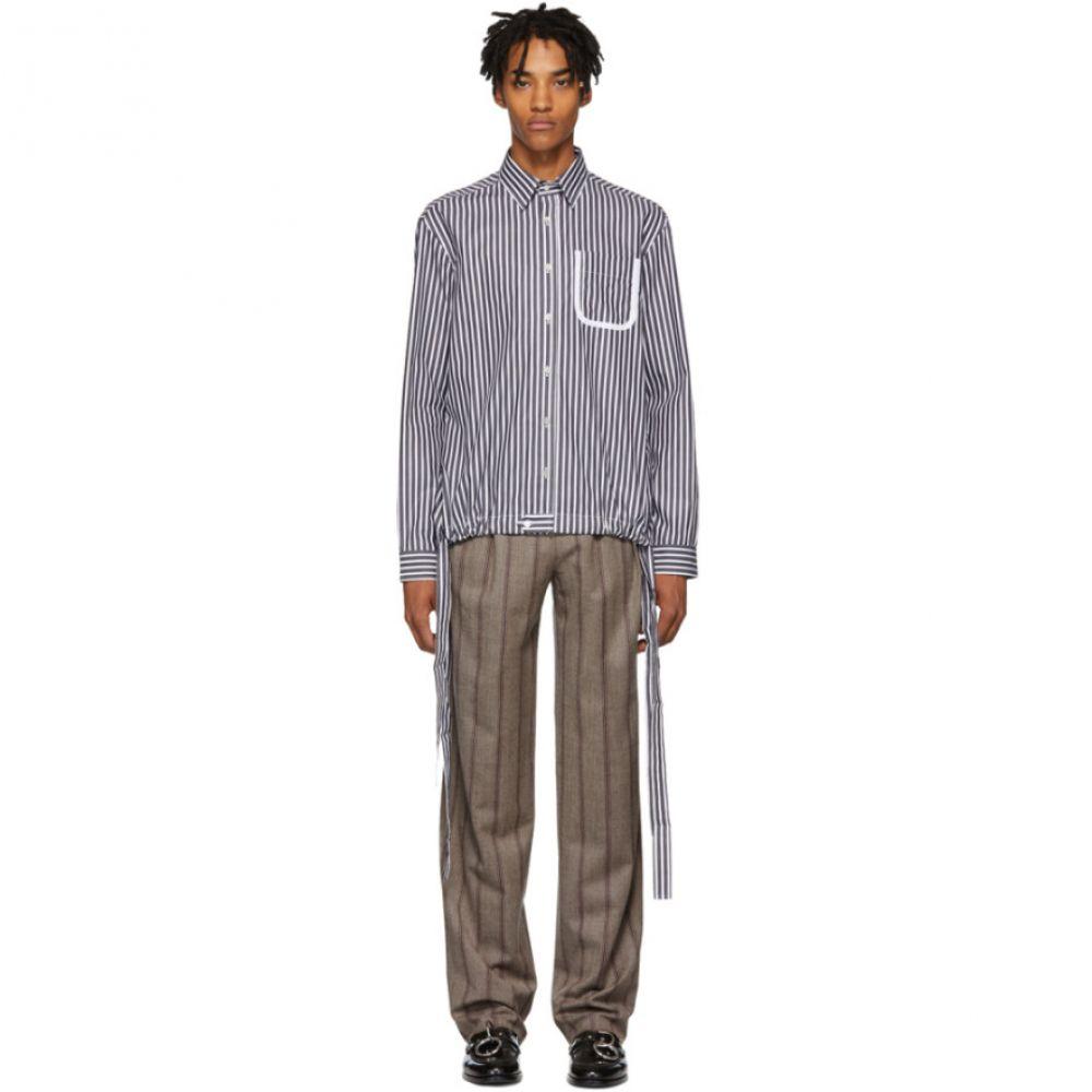 ダニエル W フレッチャー Daniel W. Fletcher メンズ トップス シャツ【Black & White Striped Tie Shirt】
