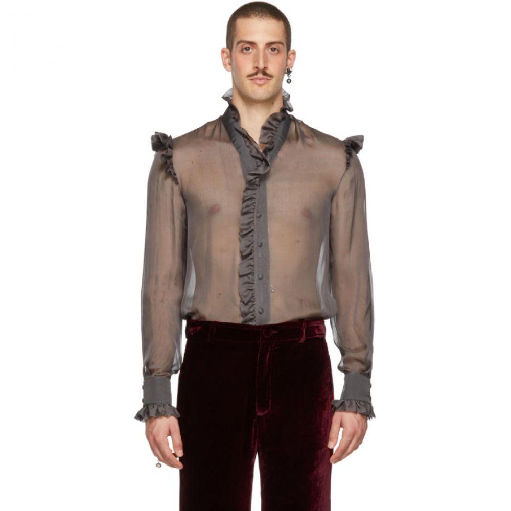 パロモ スペイン Palomo Spain メンズ トップス シャツ【Grey Sheer Ruffled Shirt】