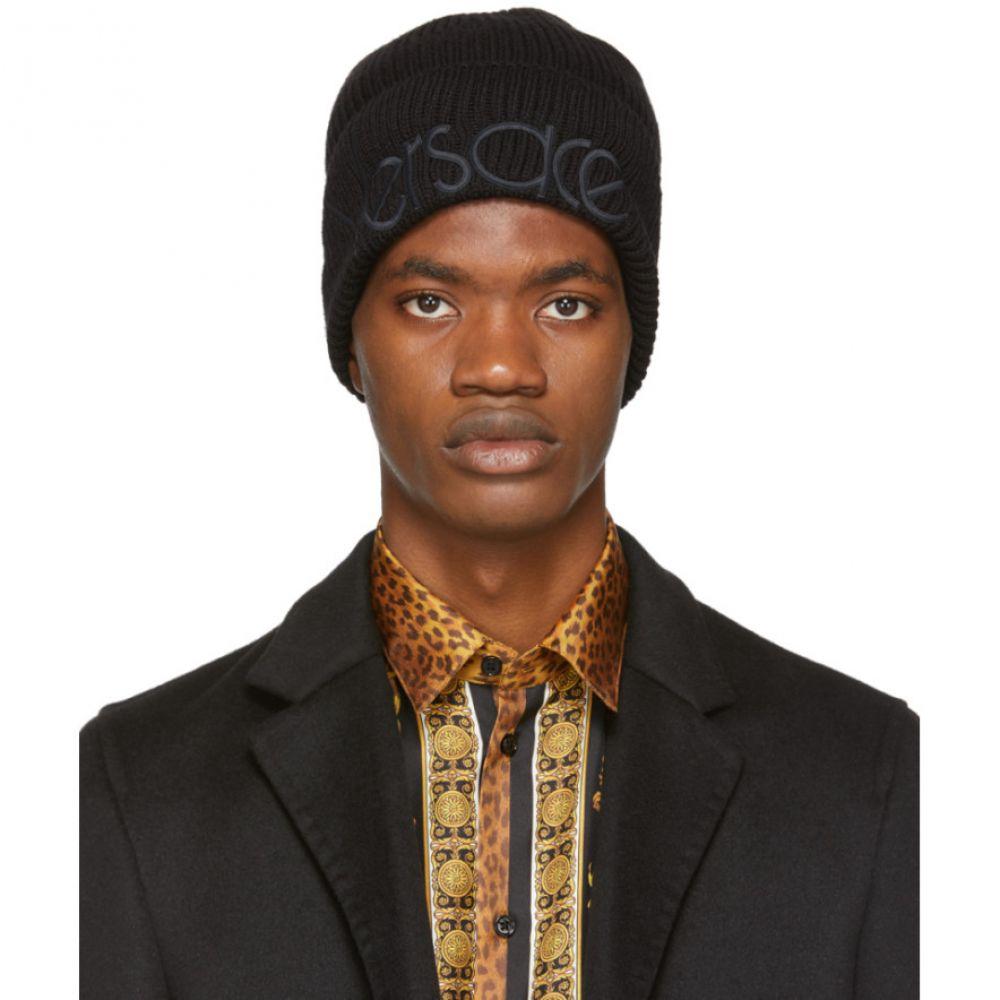 ヴェルサーチ Versace メンズ 帽子 ニット【Black Logo Beanie】