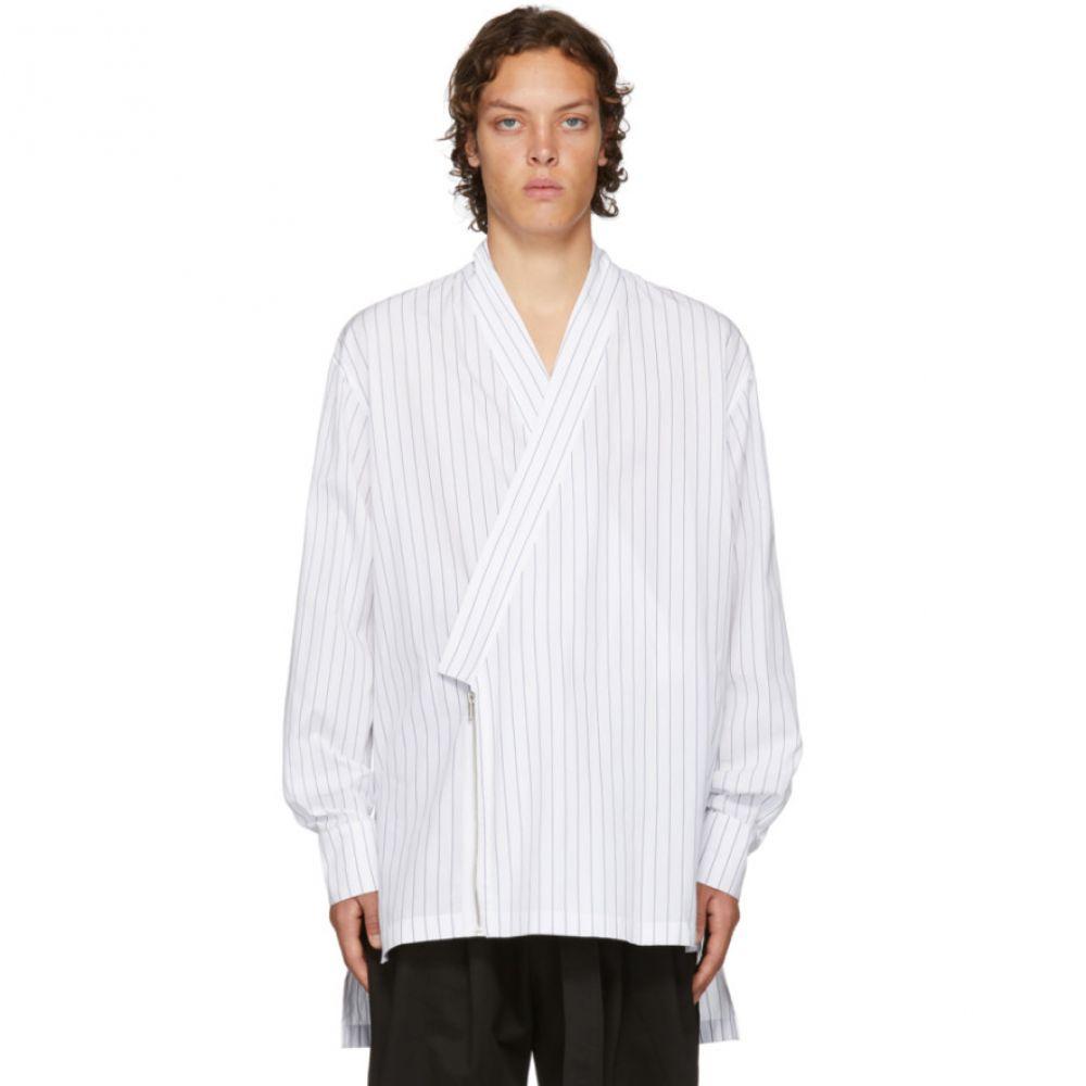 D BY D メンズ トップス シャツ【White Striped Kimono Shirt】