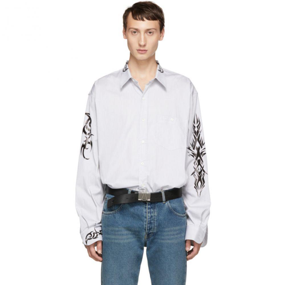 ヴェトモン Vetements メンズ トップス シャツ【Black & White Pinstriped Tattoo Shirt】