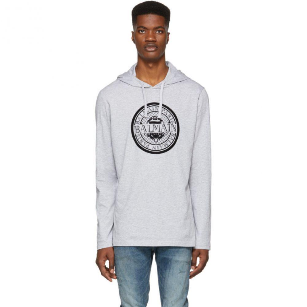 Hoodie】 Logo メンズ バルマン Coin Balmain パーカー【Grey トップス