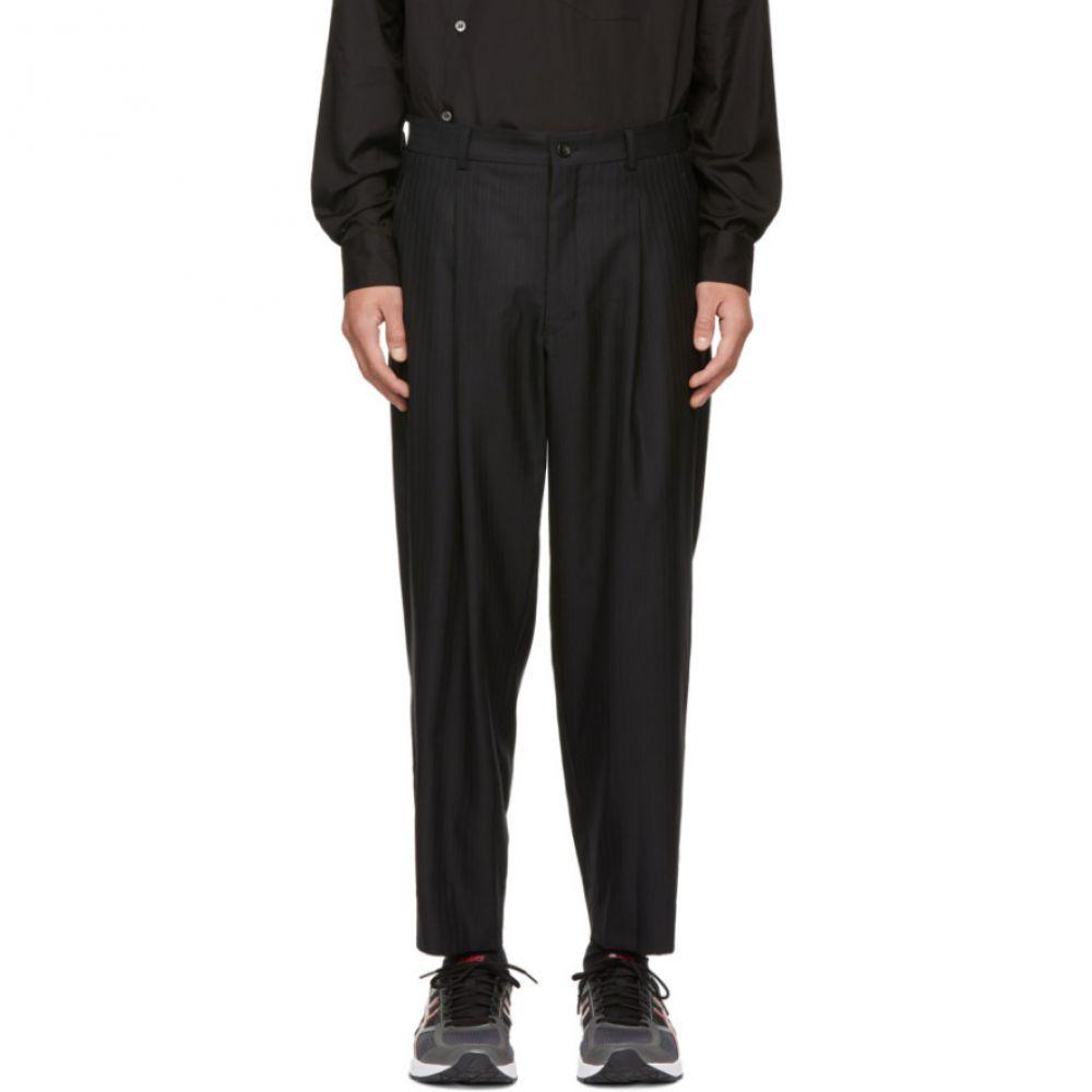 コム デ ギャルソン Comme des Garcons Homme Plus メンズ ボトムス・パンツ【Black Wool Dobby Stripe Trousers】