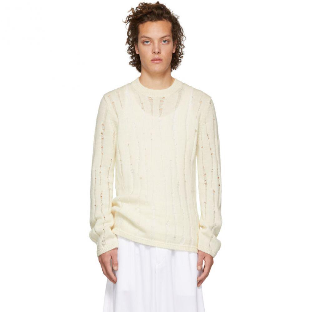 コム デ ギャルソン Comme des Garcons Homme Plus メンズ トップス ニット・セーター【Off-White Wool Splash Sweater】