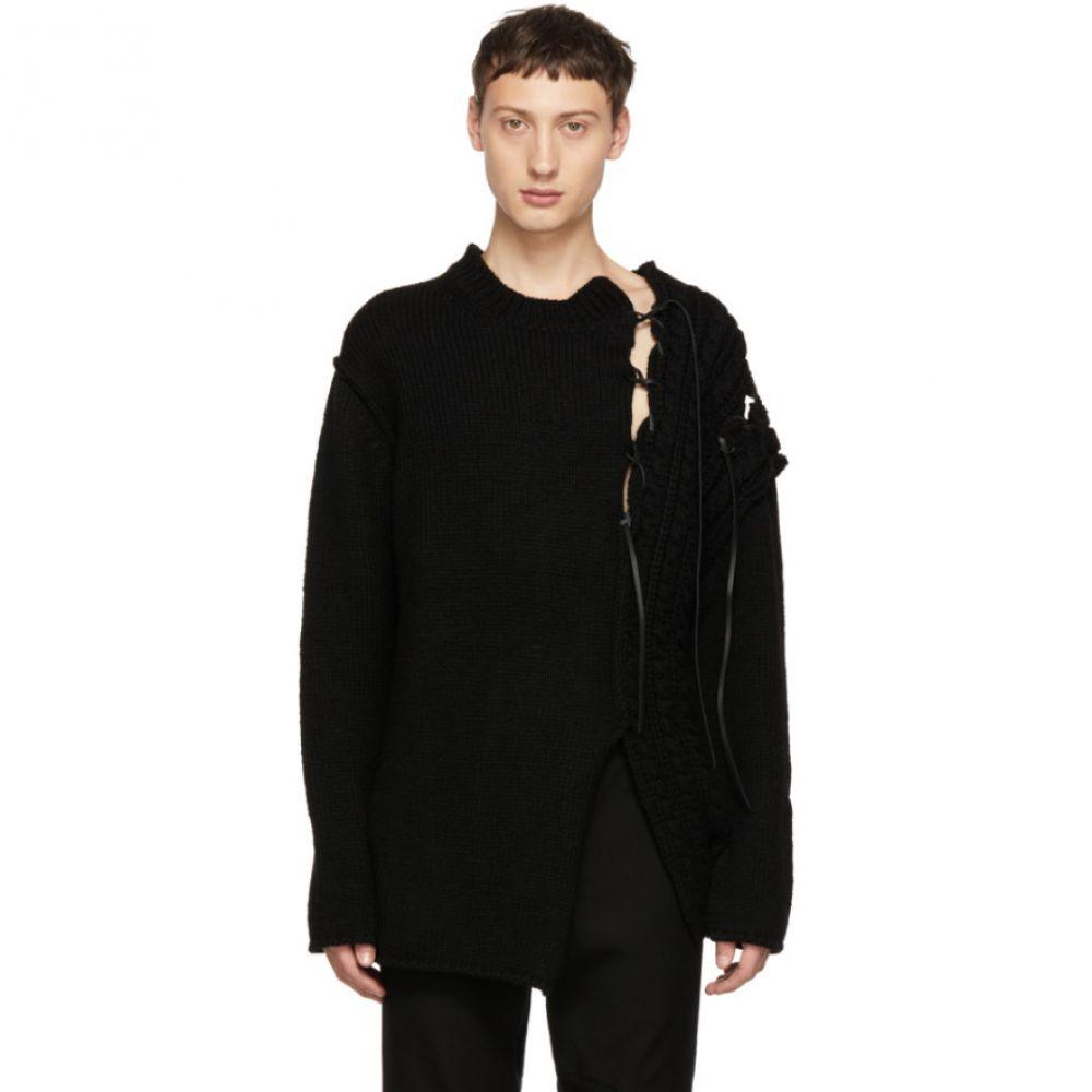 ヨウジヤマモト Yohji Yamamoto メンズ トップス ニット・セーター【Black Leather String Crewneck Sweater】