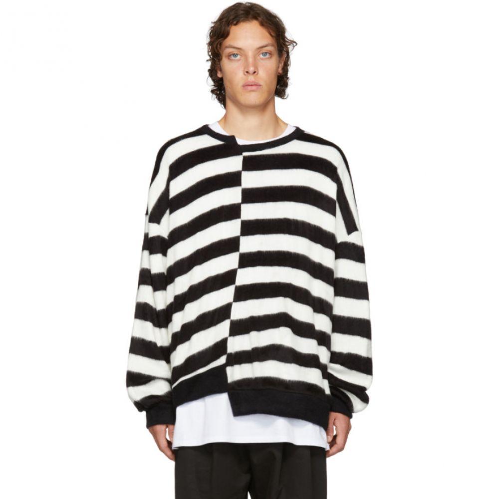 D BY D メンズ トップス ニット・セーター【Black & White Unbalanced Striped Sweater】