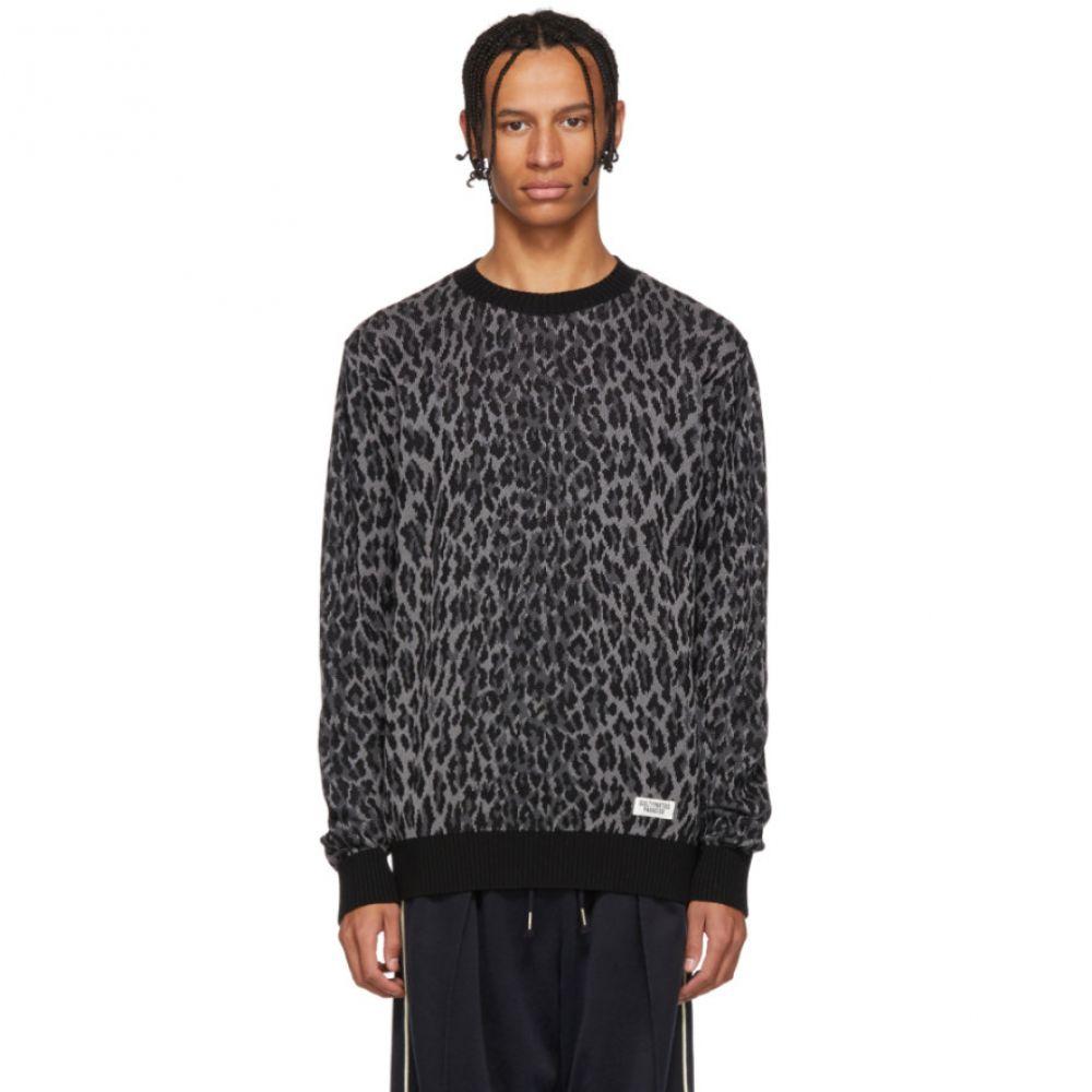 ワコマリア Wacko Maria メンズ トップス ニット・セーター【Black & Grey Leopard Jacquard Sweater】