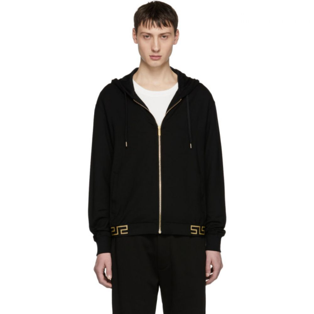 ヴェルサーチ Versace Underwear メンズ トップス パーカー【Black Greek Key Hem Zip Hoodie】