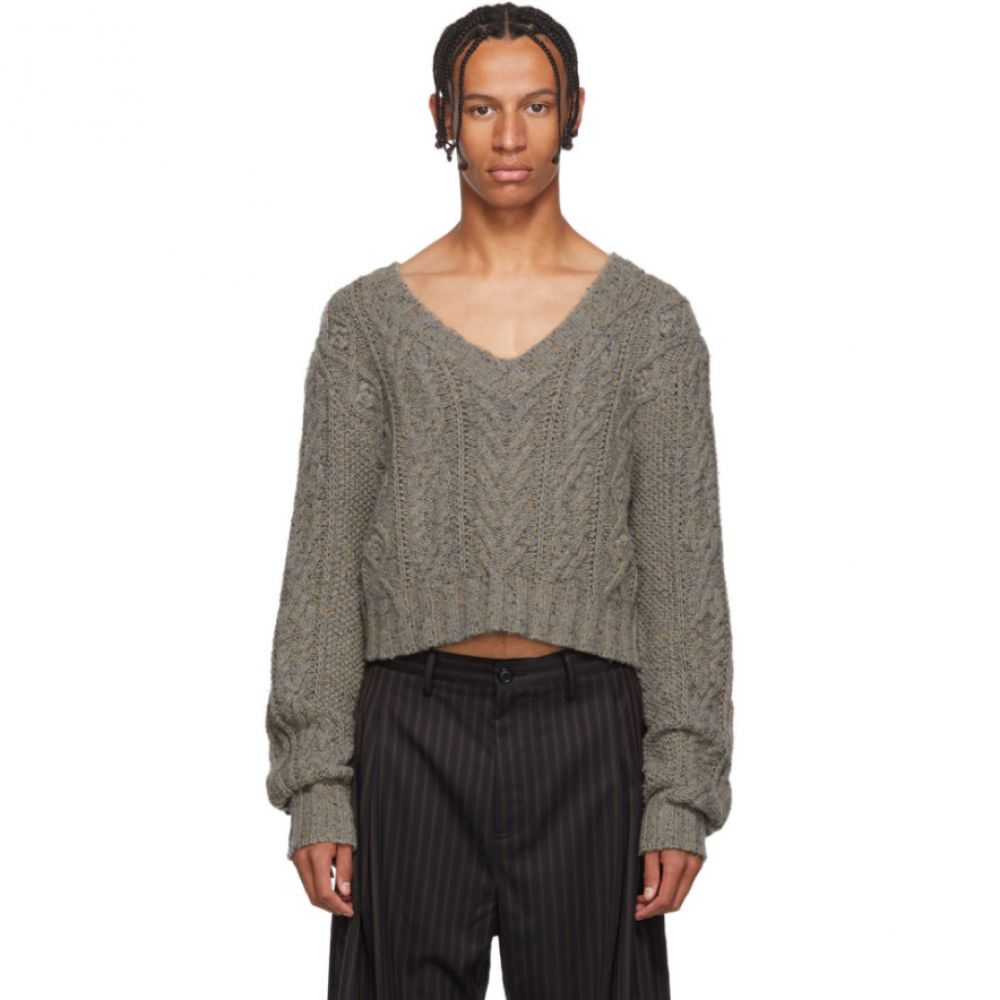 チン メンズ Chin Mens メンズ トップス ニット・セーター【Grey Crop V-Neck Sweater】