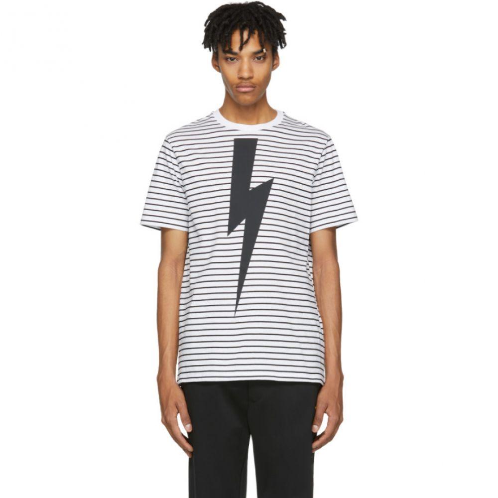 ニール バレット Neil Barrett メンズ トップス Tシャツ【White & Black Striped Thunderbolt T-Shirt】