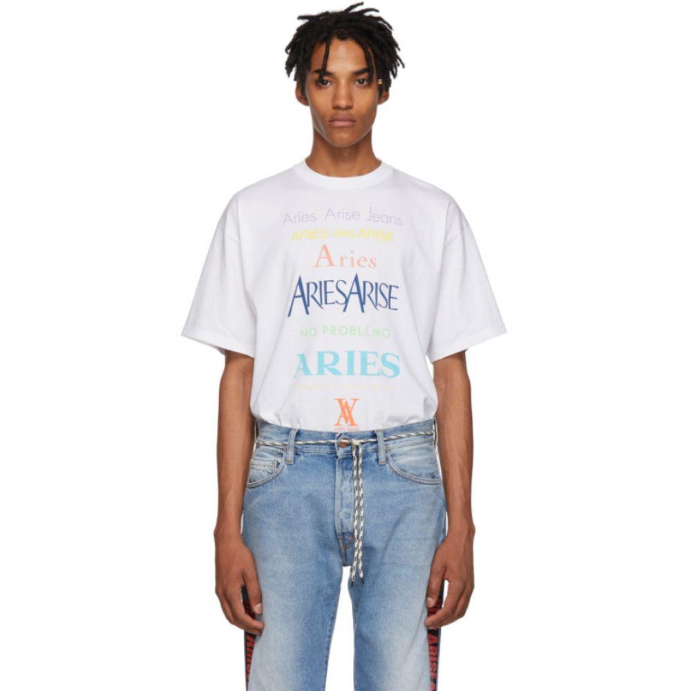 アリエス Aries メンズ トップス Tシャツ【White Multicolor Logo T-Shirt】