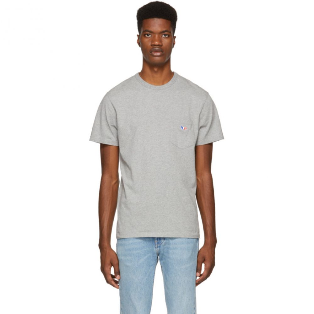 メゾン キツネ Maison Kitsune メンズ トップス Tシャツ【Grey Tricolor Fox Patch Pocket T-Shirt】