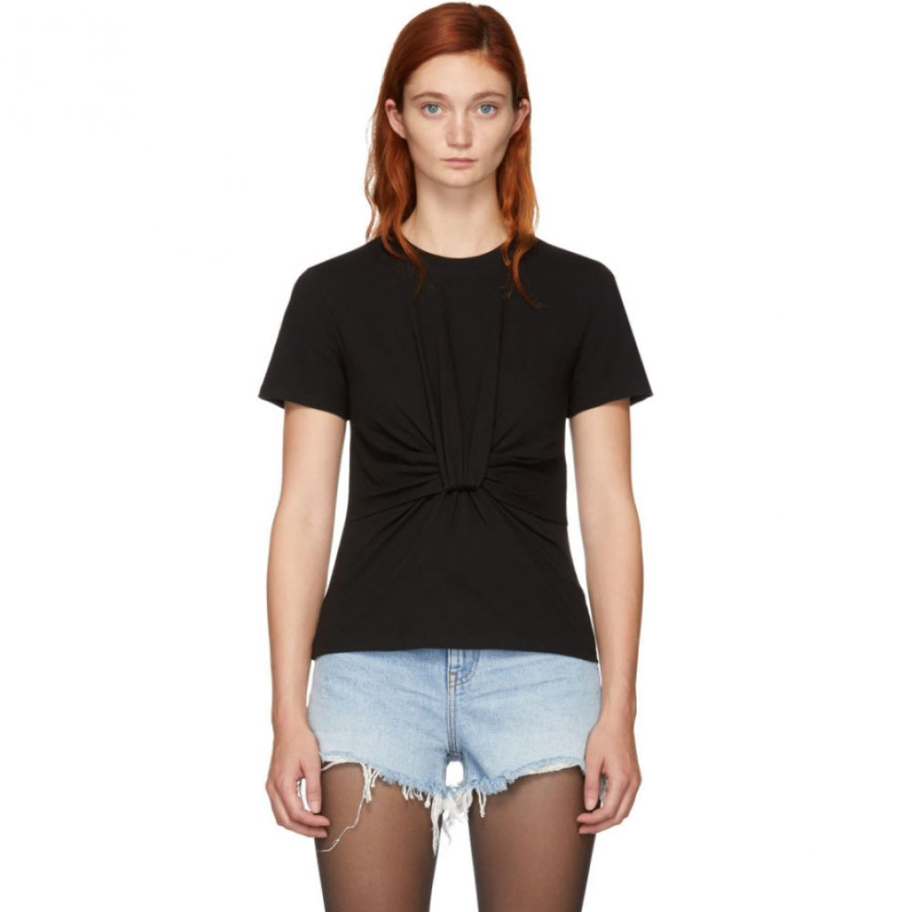 アレキサンダー ワン T by Alexander Wang レディース トップス Tシャツ【Black Twist Front T-Shirt】