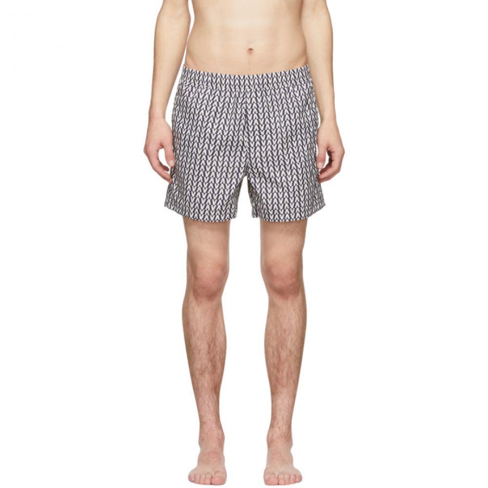 ヴァレンティノ Valentino メンズ 水着・ビーチウェア 海パン【Navy & White Optical Swim Shorts】