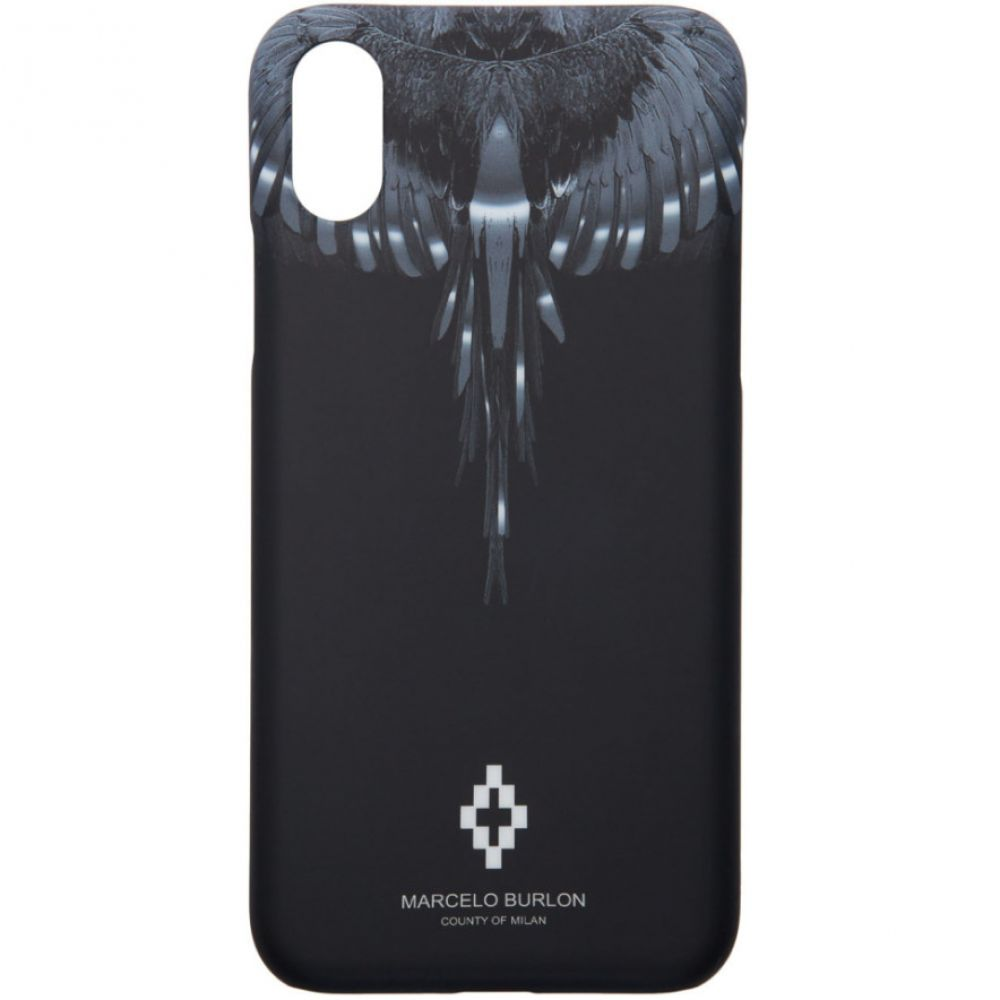 マルセロバーロン Marcelo Burlon County of Milan レディース iPhone (X)ケース【Black & Silver Wings iPhone X Case】