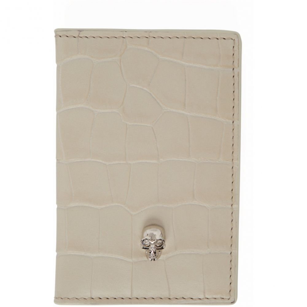 アレキサンダー マックイーン Alexander McQueen レディース カードケース・名刺入れ【White Croc Skull Bifold Card Holder】