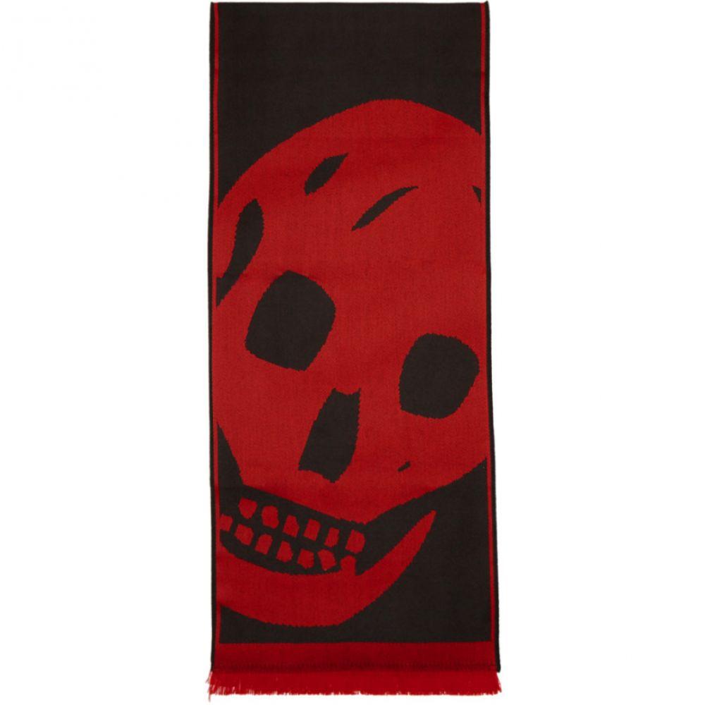 アレキサンダー マックイーン Alexander McQueen メンズ マフラー・スカーフ・ストール【Black & Red Oversized Skull Scarf】