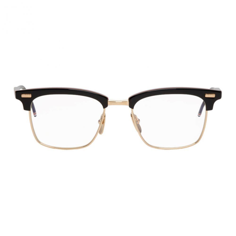 トム ブラウン Thom Browne メンズ メガネ・サングラス【Black & Gold Square TB-711 Glasses】