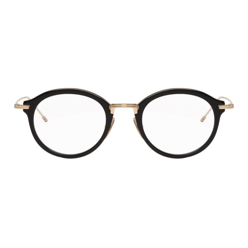 トム ブラウン Thom Browne メンズ メガネ・サングラス【Black & Gold TBX908 Glasses】