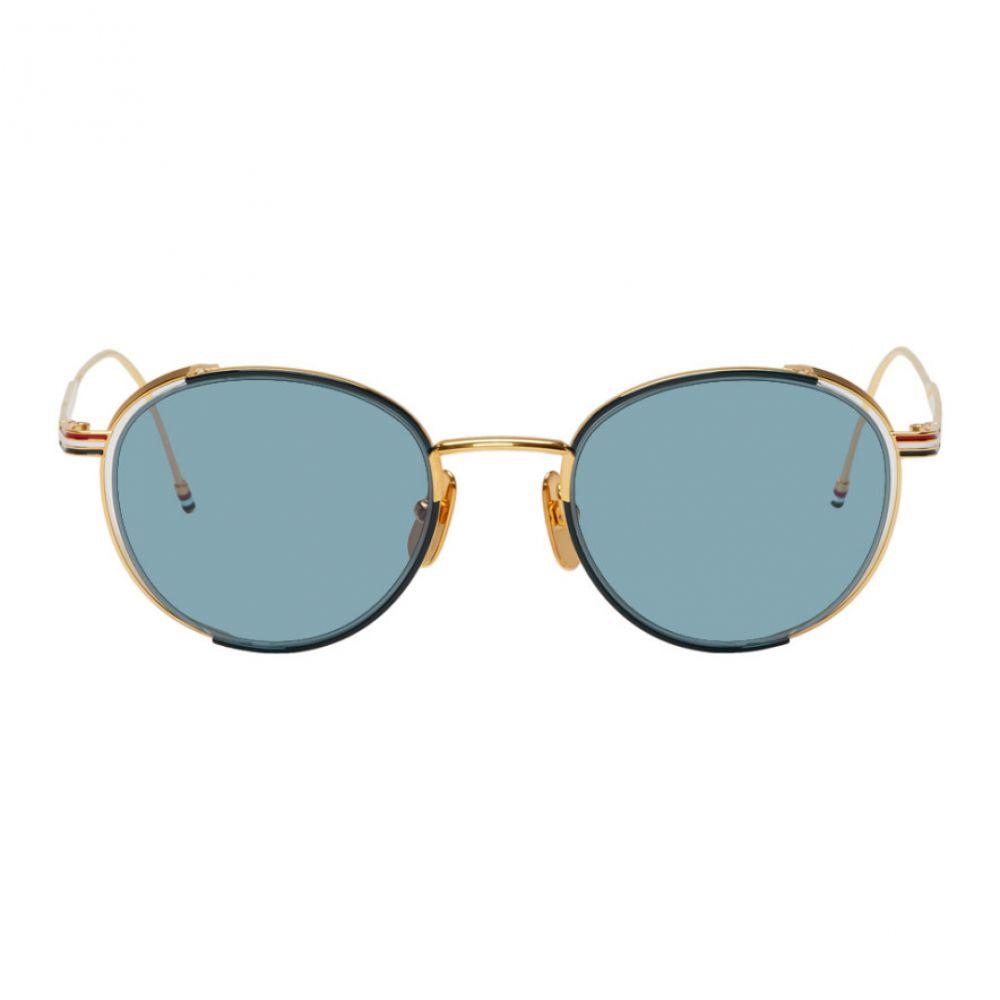 トム ブラウン Thom Browne メンズ メガネ・サングラス【Navy & Gold TB-106 Sunglasses】