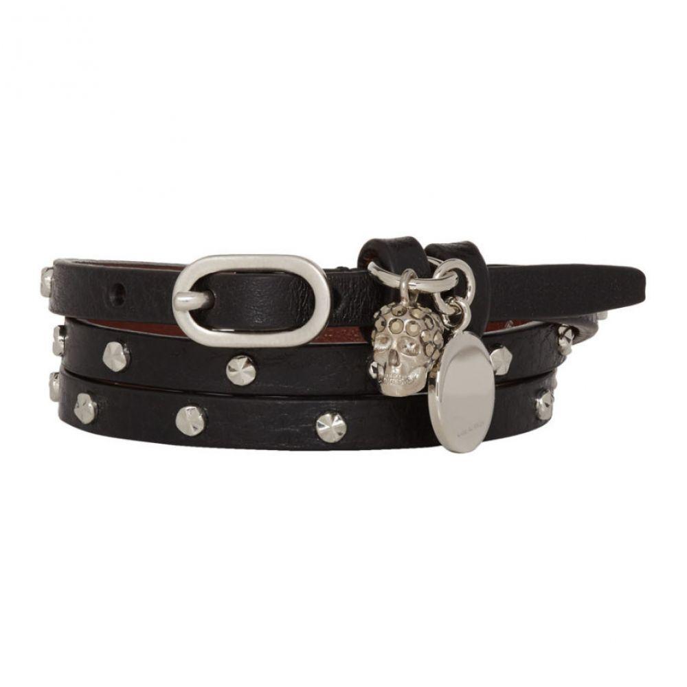 アレキサンダー マックイーン Alexander McQueen レディース ジュエリー・アクセサリー ブレスレット【Black & Silver Studded Multi Wrap Bracelet】