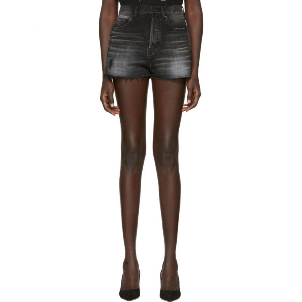イヴ サンローラン Saint Laurent レディース ボトムス・パンツ ショートパンツ【Black Distressed Denim Shorts】