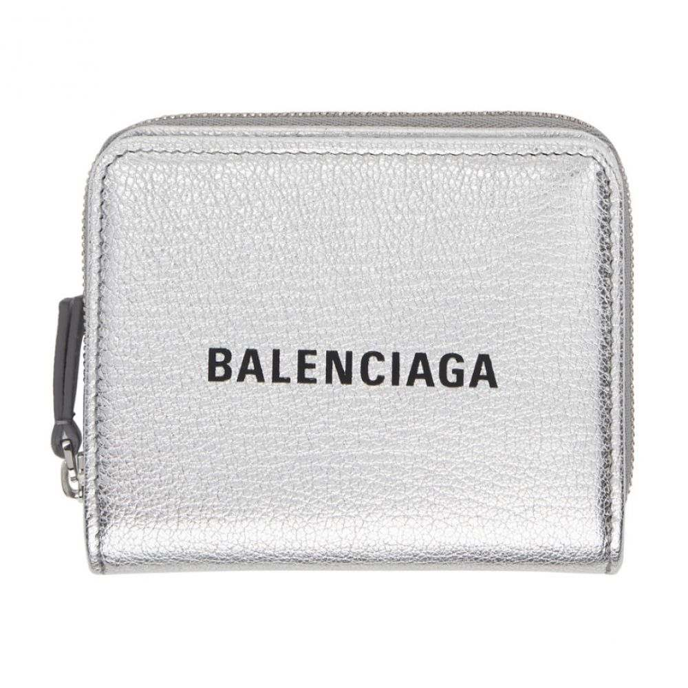 バレンシアガ Balenciaga レディース 財布【Silver & Black Small Square Logo Wallet】