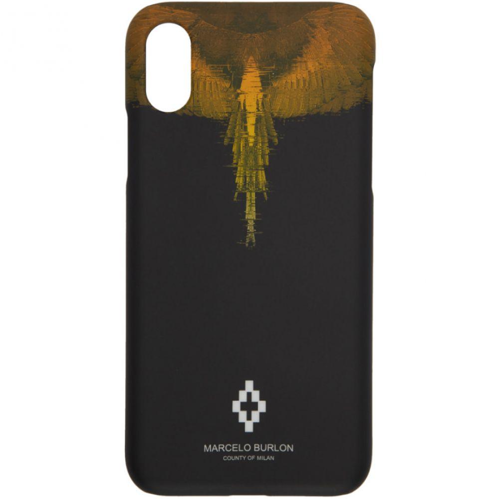 マルセロバーロン Marcelo Burlon County of Milan レディース iPhone (X)ケース【Black Glitch Wings iPhone X Case】