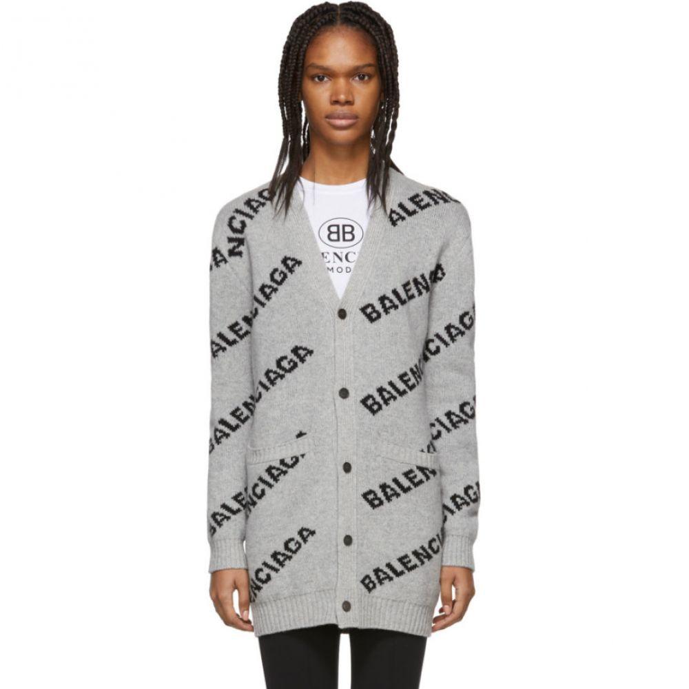 バレンシアガ Balenciaga レディース トップス カーディガン【Grey & Black Oversized Logo Cardigan】