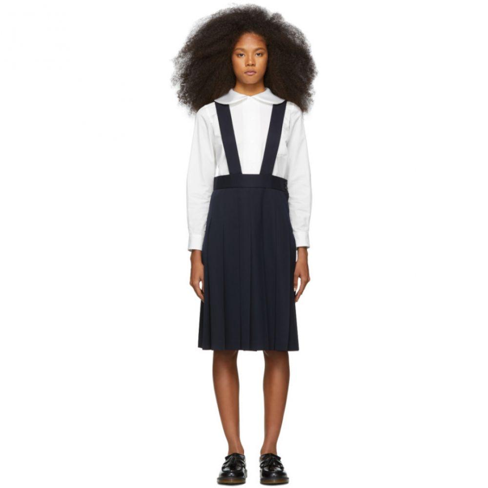 コム デ ギャルソン Comme des Garcons Girl レディース スカート ひざ丈スカート【Navy Wool Pleated Suspender Skirt】