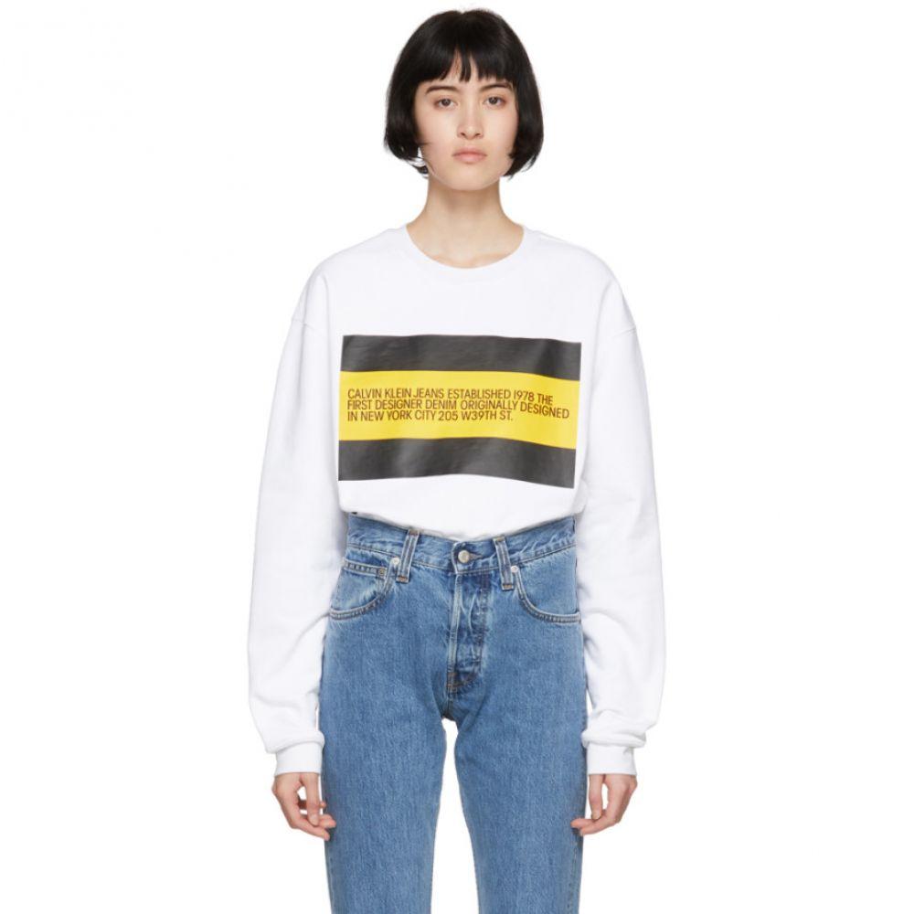 カルバンクライン Calvin Klein Jeans Est. 1978 レディース トップス スウェット・トレーナー【White 'Est. 1978' Patch Sweatshirt】