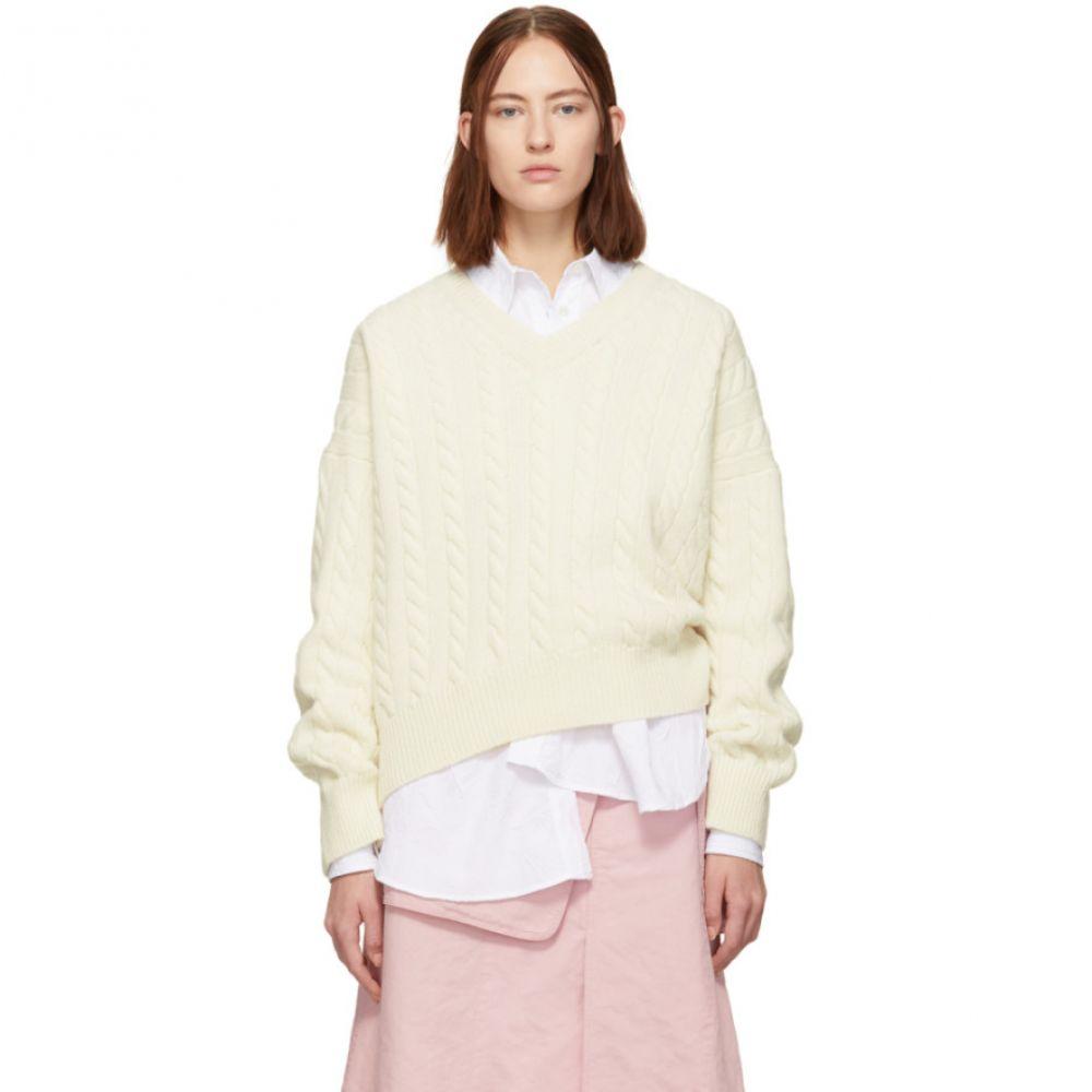 ロエベ Loewe レディース トップス ニット・セーター【Off-White Cable Knit V-Neck Sweater】
