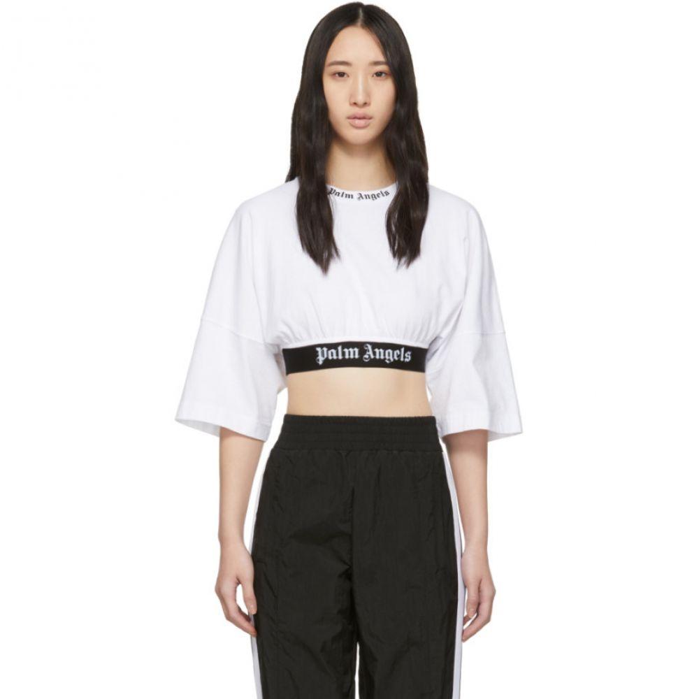 パーム エンジェルス Palm Angels レディース トップス ベアトップ・チューブトップ・クロップド【White Cropped Logo T-Shirt】