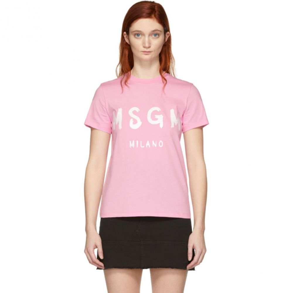 エムエスジーエム MSGM レディース トップス Tシャツ【Pink Milano Logo T-Shirt】