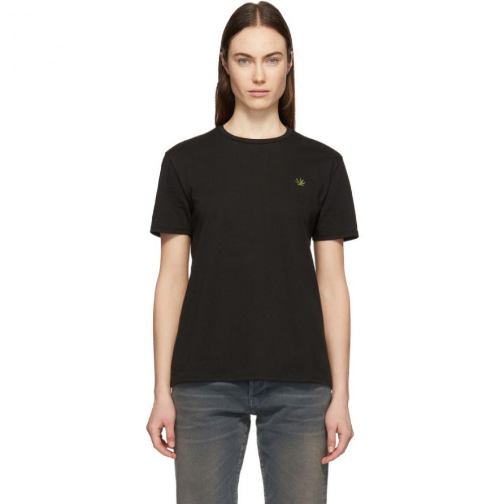 シックススリーナインセブン 6397 レディース トップス Tシャツ【Black Embroidered Leaf Boy T-Shirt】