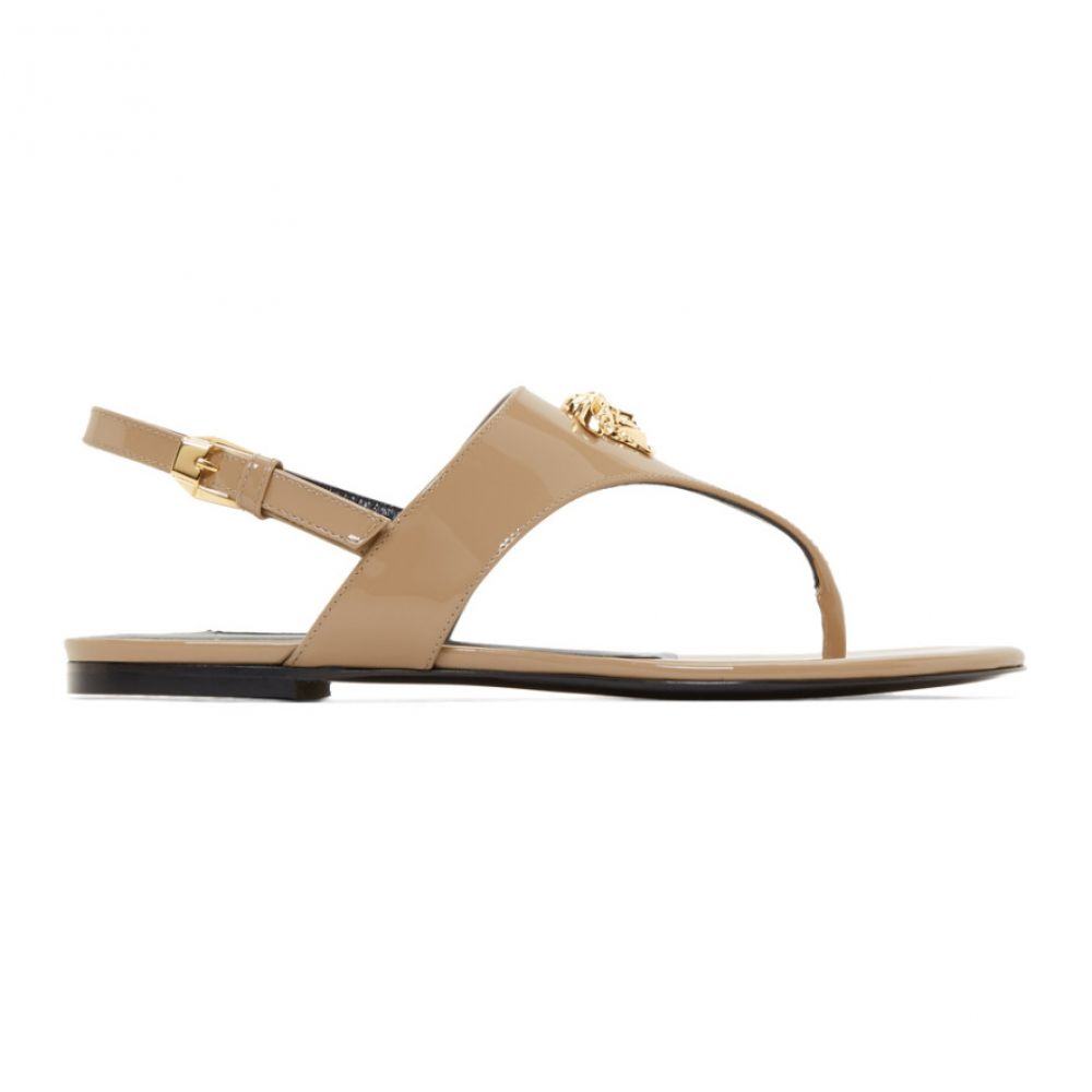 ヴェルサーチ Versace レディース シューズ・靴 サンダル・ミュール【Beige Patent Medusa Palazzo Sandals】