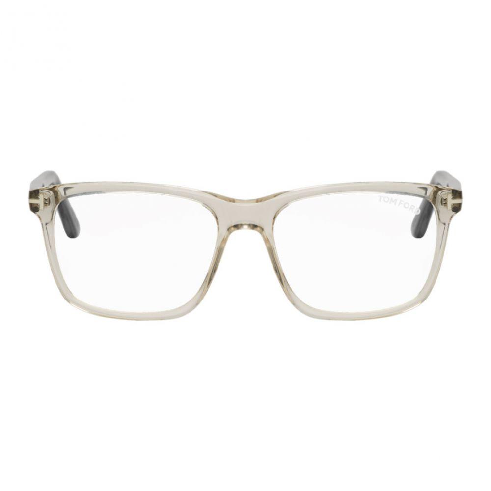 トム フォード Tom Ford メンズ メガネ・サングラス【Transparent & Black Block Square Glasses】