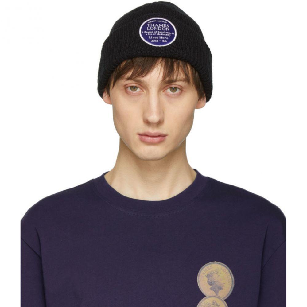 テムズ Thames メンズ 帽子 ニット【Black Plaque Beanie】