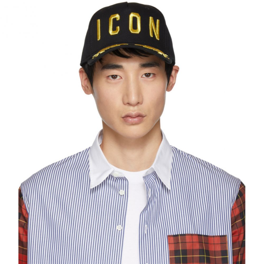 ディースクエアード Dsquared2 メンズ 帽子 キャップ【Black & Gold 'Icon' Baseball Cap】