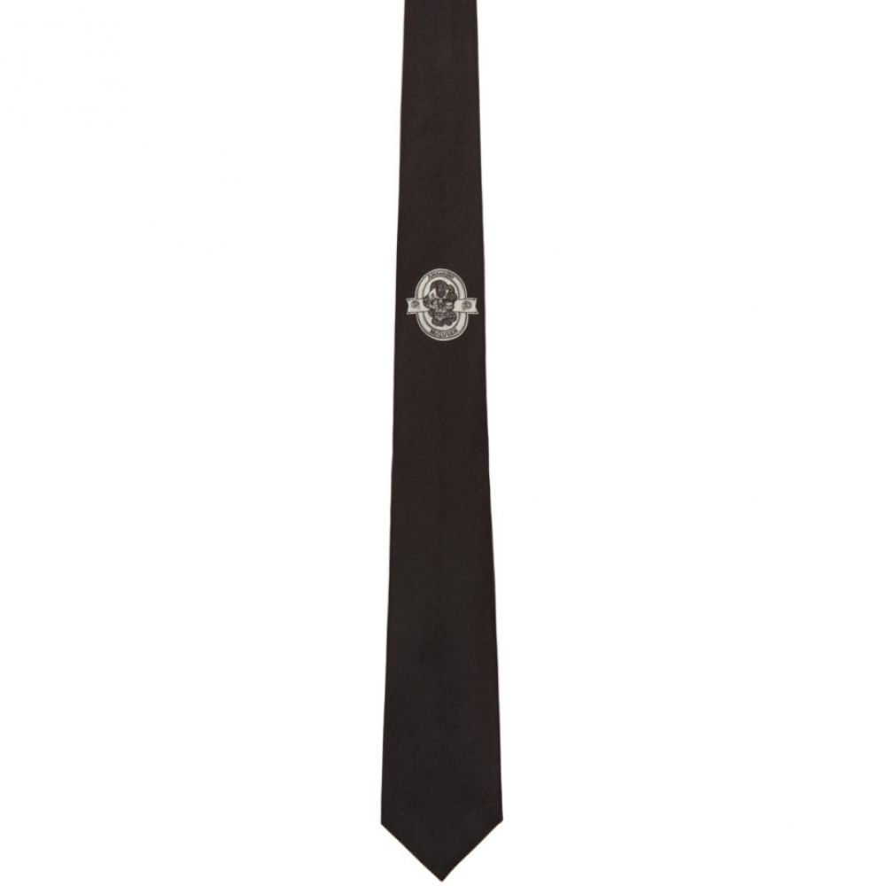 アレキサンダー マックイーン Alexander McQueen メンズ ネクタイ【Black Silk Logo Tie】