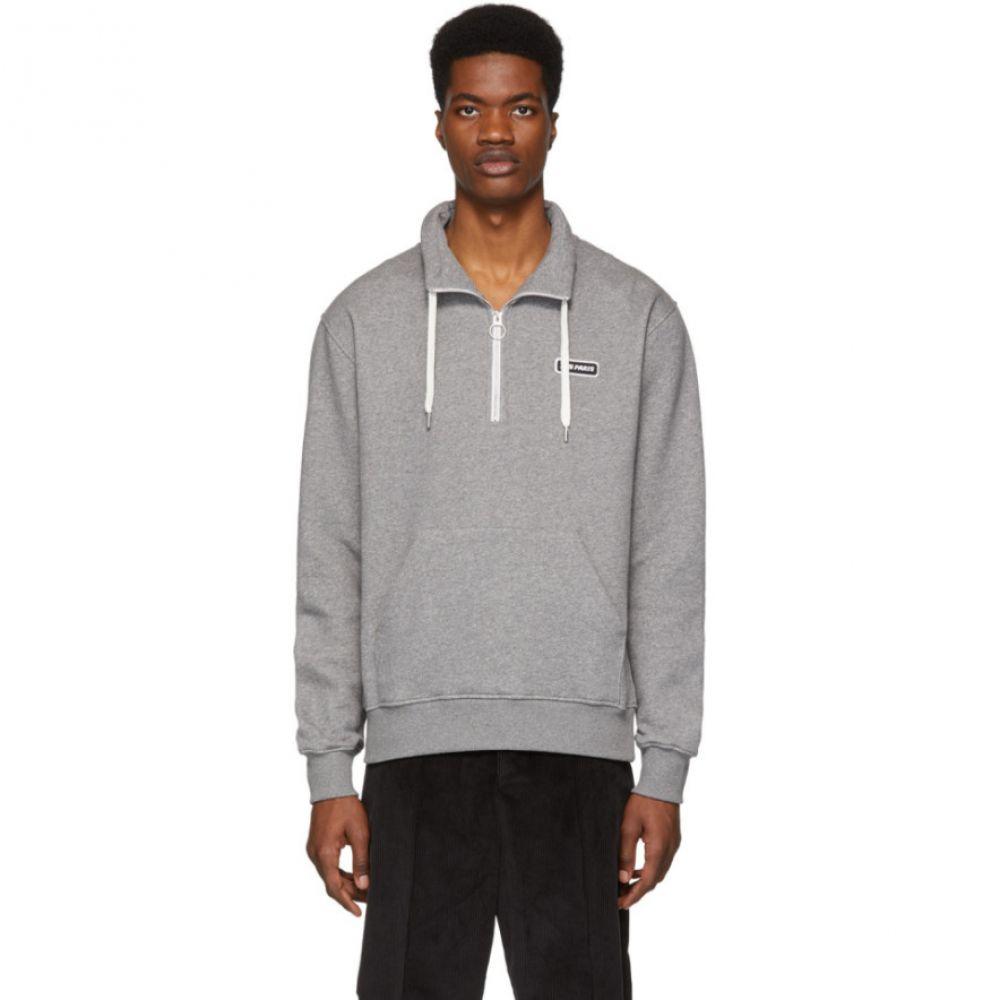 アミアレクサンドルマテュッシ AMI Alexandre Mattiussi メンズ トップス スウェット・トレーナー【Grey 'Ami Paris' Patch Half-Zipped Sweatshirt】