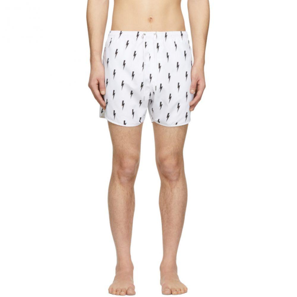 ニール バレット Neil Barrett メンズ 水着・ビーチウェア 海パン【White & Black Lightning Bolt Swim Shorts】
