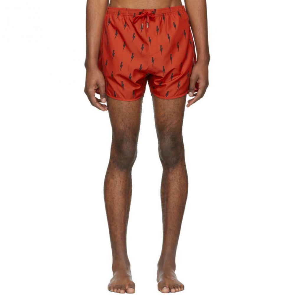 ニール バレット Neil Barrett メンズ 水着・ビーチウェア 海パン【Red & Black Lighting Bolt Swim Shorts】