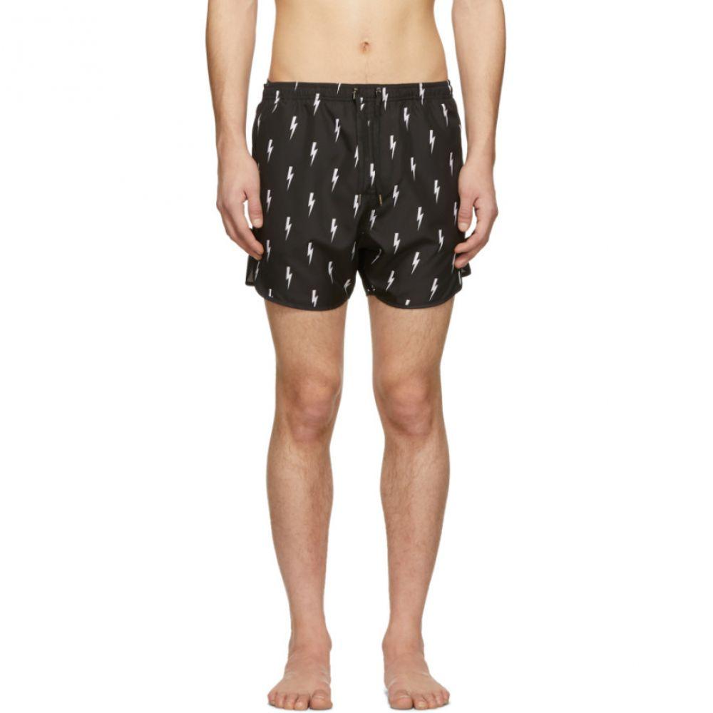 ニール バレット Neil Barrett メンズ 水着・ビーチウェア 海パン【Black Lightning Bolt Swim Shorts】