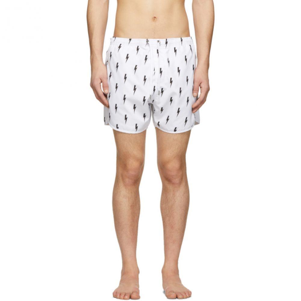 ニール バレット Neil Barrett メンズ 水着・ビーチウェア 海パン【White Lightning Bolt Swim Shorts】