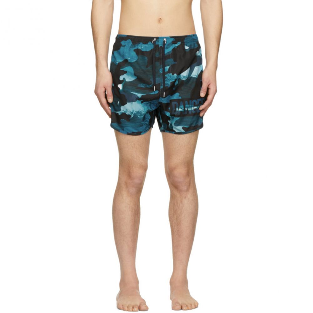 ニール バレット Neil Barrett メンズ 水着・ビーチウェア 海パン【Blue Camo 'Danger' Swim Shorts】