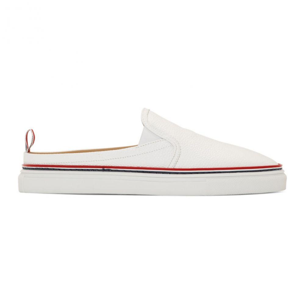 トム ブラウン Thom Browne メンズ シューズ・靴 スリッポン・フラット【White Slide Slip-On Sneakers】