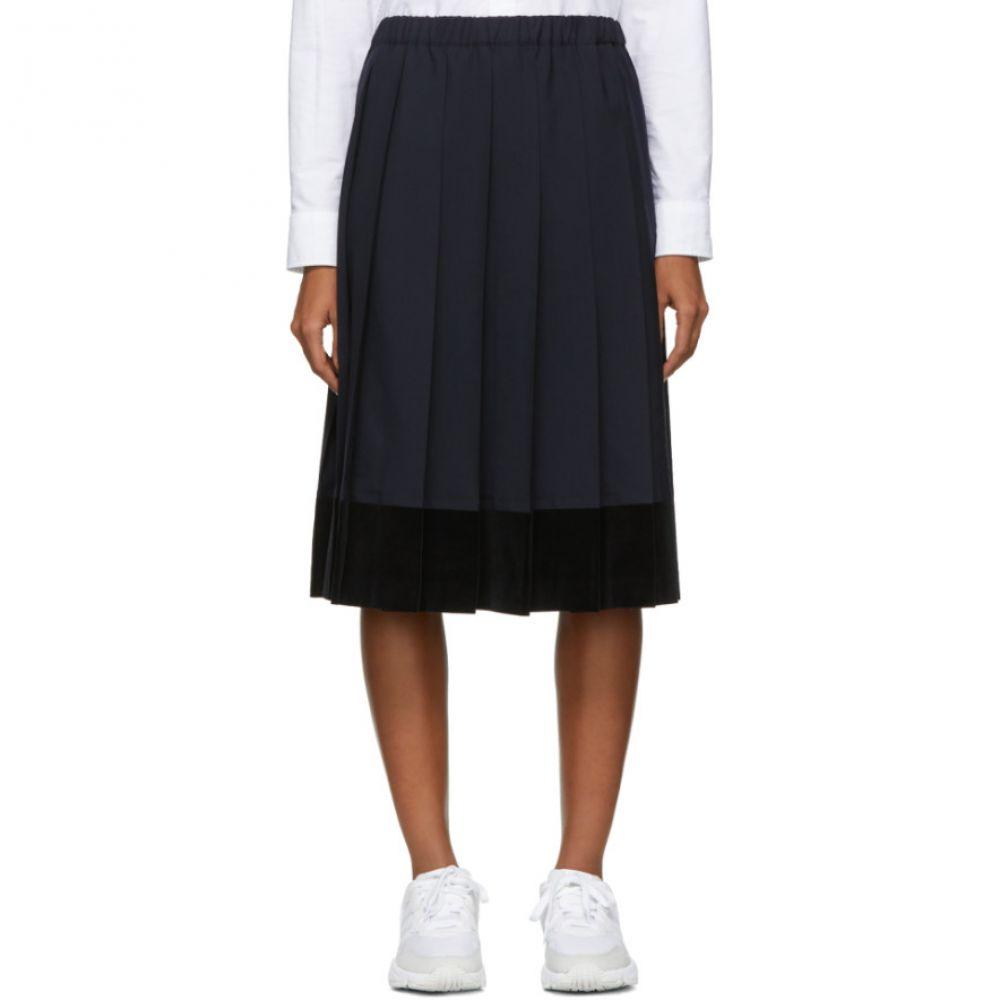 コム デ ギャルソン Comme des Gar?ons GIRL レディース スカート ひざ丈スカート【Navy Velveteen Panel Skirt】
